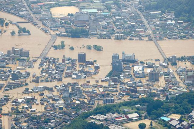 熊本で発生した洪水の写真