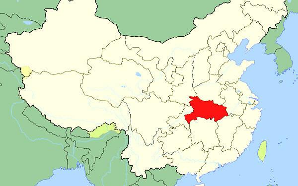三峡ダムのある中国湖北省の地図