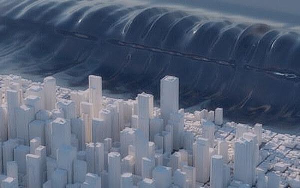 津波のシミュレーション写真