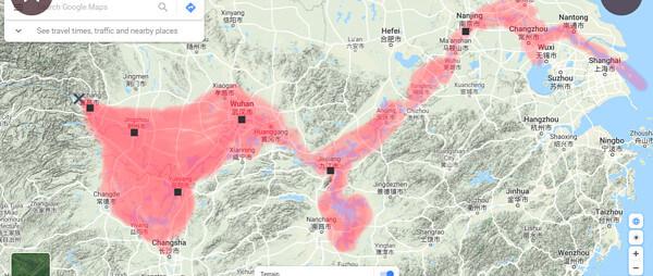 三峡ダムの決壊で被害が出るエリアを示した地図