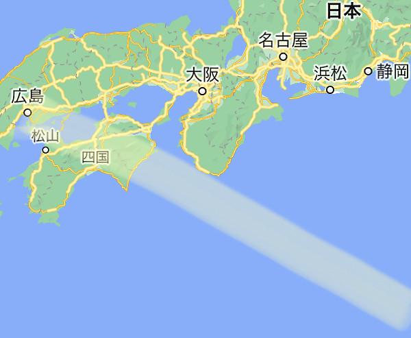 地震体感の位置を示した地図