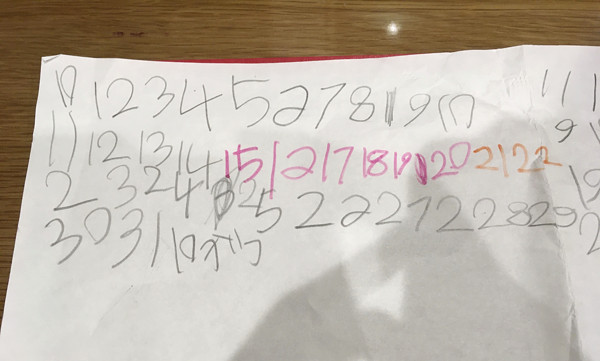 まるちゃんさんのお子さんが描いたメモ