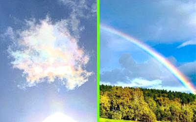 彩雲と虹の写真