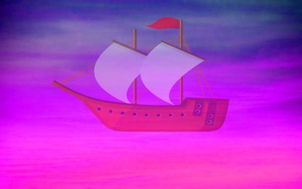 空に浮ぶ舟のイメージイラスト