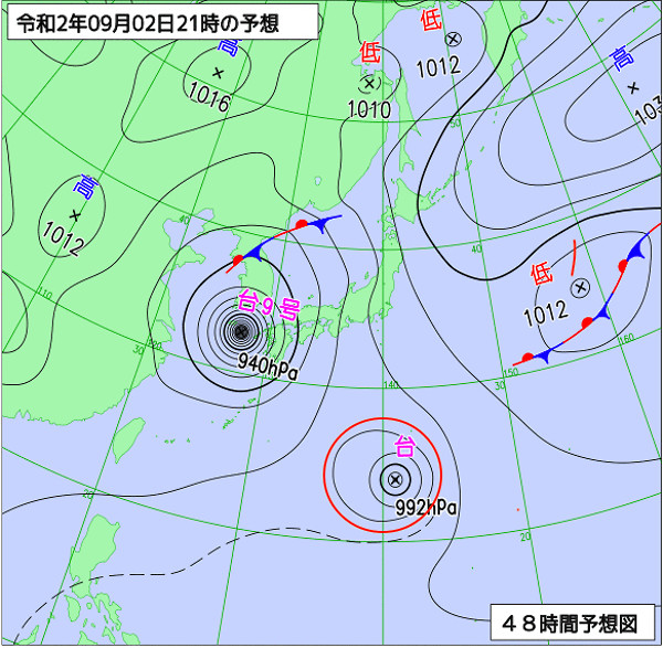 台風10号(2020年)の進路図