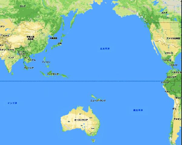 世界地図(オーストラリアの位置)