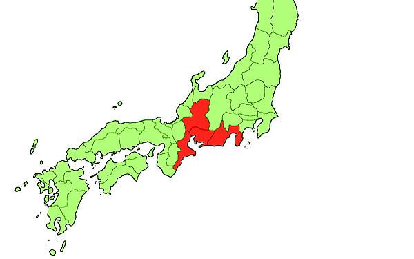 日本地図の画像(東海地方)
