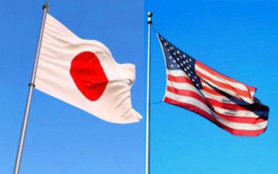 日本国旗とアメリカ国旗の写真
